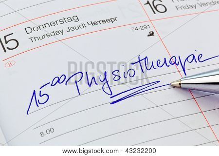 a date is entered in a calendar: physiotherapy