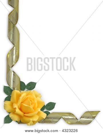 Yellow Rose And Gold Ribbon Border Invitation