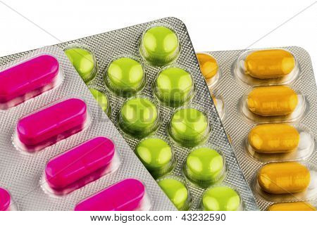 colorful tablets in blister packs, icon photo for medicine and healthcare