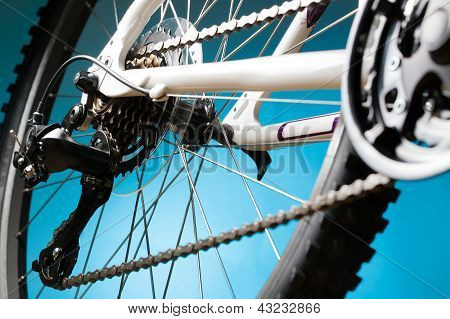 Rear mountain bike cassette on the wheel with chain