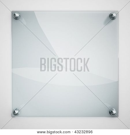 Protection glass plate fastened to white wall with metal rivets.