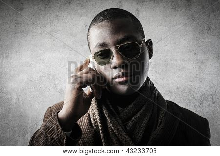 young black businessman calling