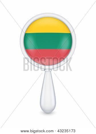 Loupe with lituanian flag.