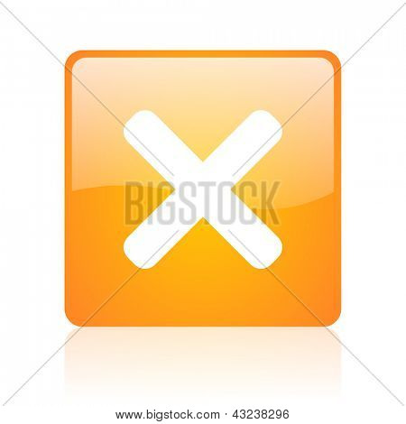 cancel orange square glossy web icon