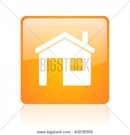 home orange square glossy web icon