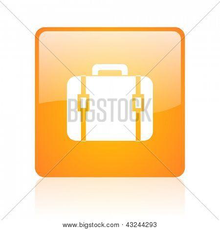 baggage orange square glossy web icon