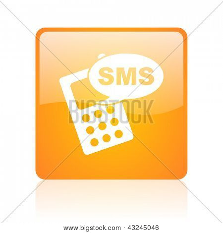 sms orange square glossy web icon
