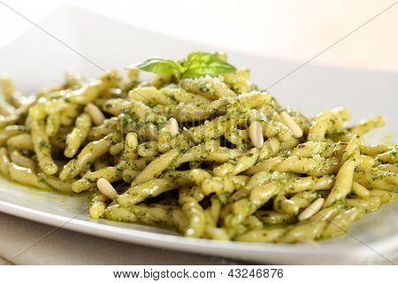 Italian pasta with pesto genovese