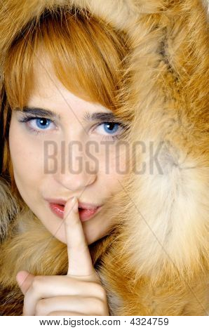 Beautiful Blue-eyed Woman In Fox Fur Shows Sh-h