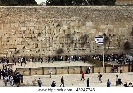 Jerusalem, Israel - March 03: Jewish Worshipers  Pray At The Wailing Wall An Important Jewish Religi