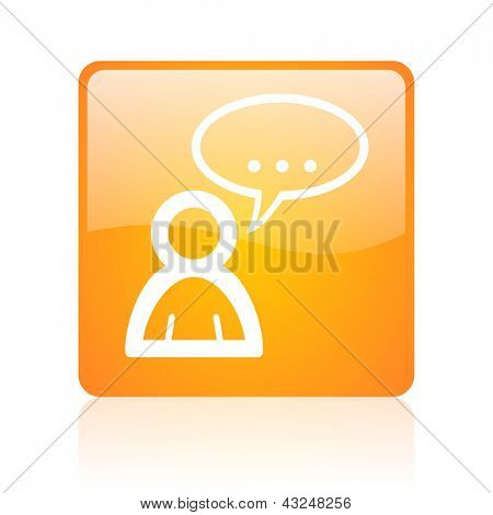 forum orange square glossy web icon