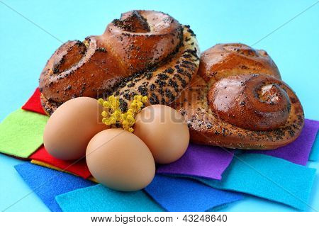 Buns With Poppy Seeds And Brown Eggs