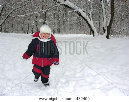Run Boy In Winter Wood