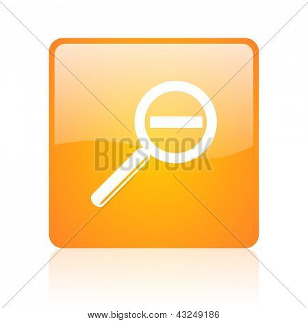 magnification orange square glossy web icon