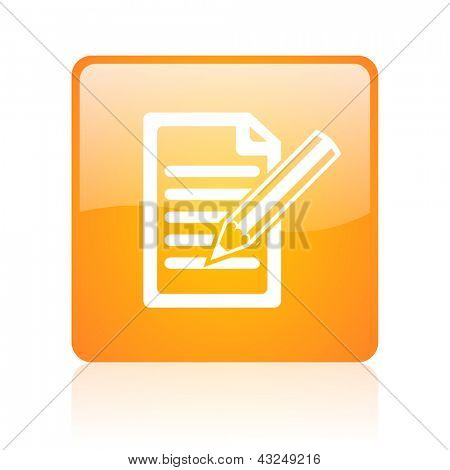 subscribe orange square glossy web icon