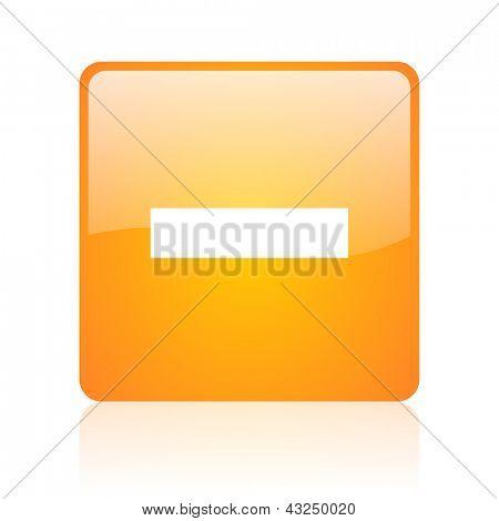 minus orange square glossy web icon