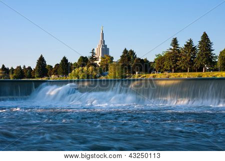 Idaho Falls Temple next to Snake River in Idaho Falls