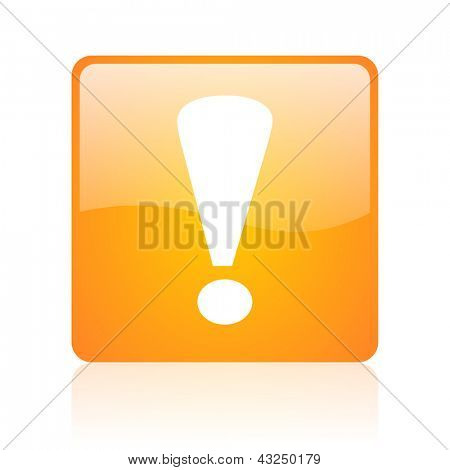 exclamation sign orange square glossy web icon
