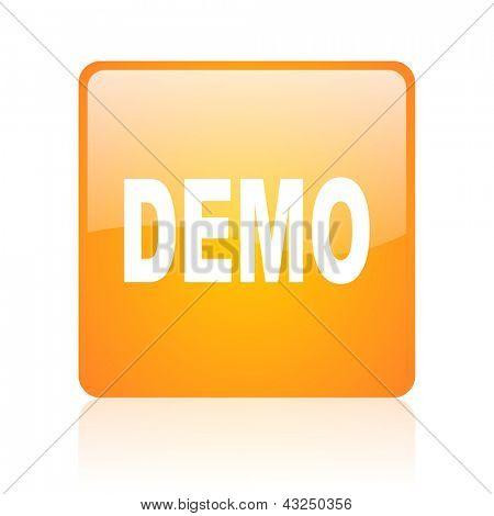 demo orange square glossy web icon