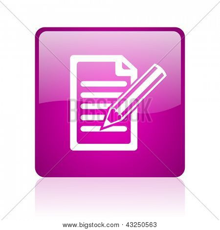 subscribe violet square web glossy icon