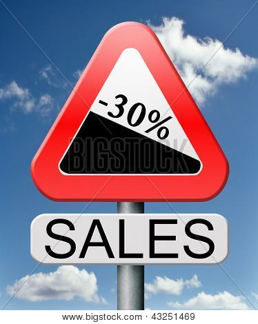 sale 30% off winter off for summer sales text on road sign concept for online web shop internet shopping icon or button. Bargain discount or reduction for extra low price promotion.