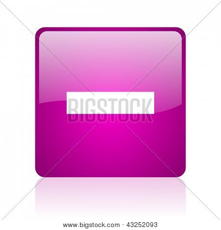 minus violet square web glossy icon