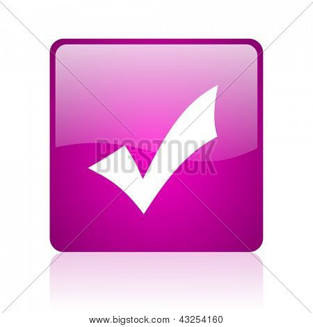 accept violet square web glossy icon