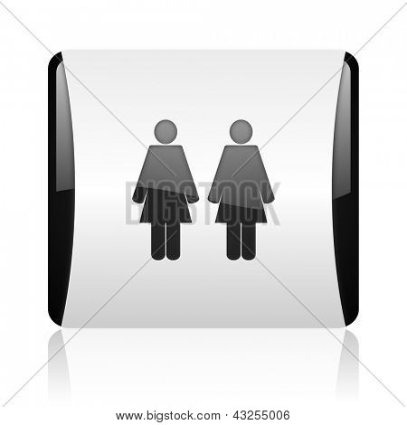 couple black and white square web glossy icon