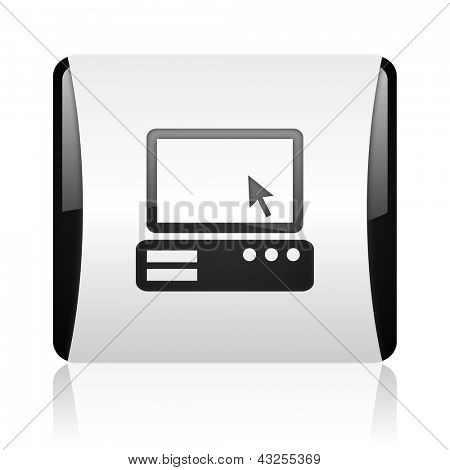 pc black and white square web glossy icon