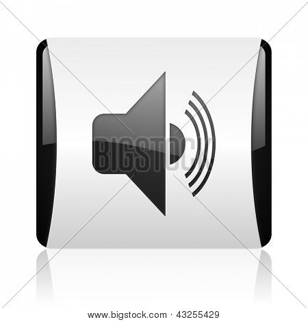 volume black and white square web glossy icon