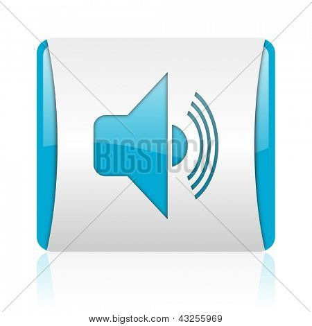 volume blue and white square web glossy icon