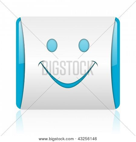 smile blue and white square web glossy icon