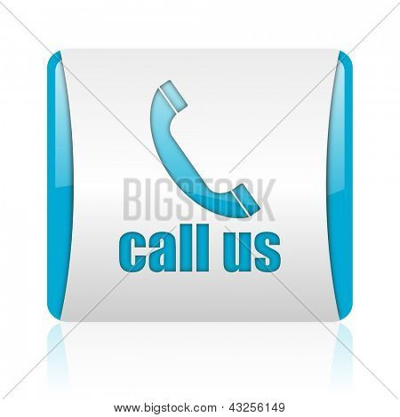 call us blue and white square web glossy icon