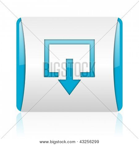 exit blue and white square web glossy icon