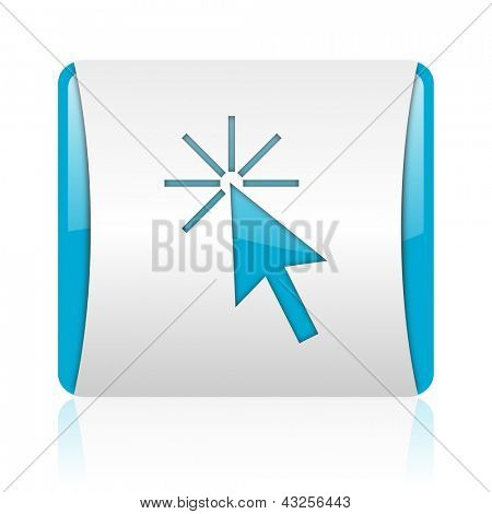 click here blue and white square web glossy icon