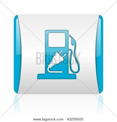 fuel blue and white square web glossy icon