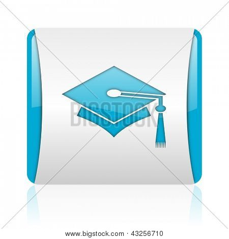 graduation blue and white square web glossy icon