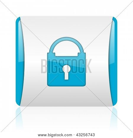 protect blue and white square web glossy icon