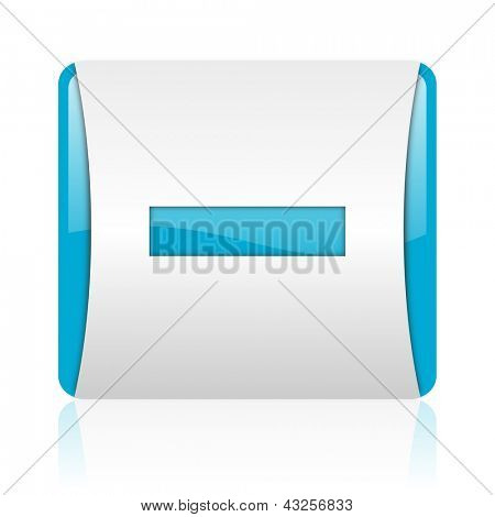 minus blue and white square web glossy icon