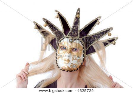 A Pretty Woman In Venus Music Mask