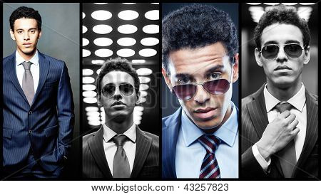 Collage of elegant man in suit looking at camera
