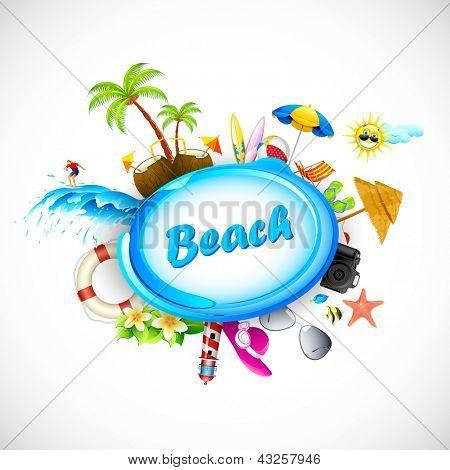 Illustration of vacation on sea beach