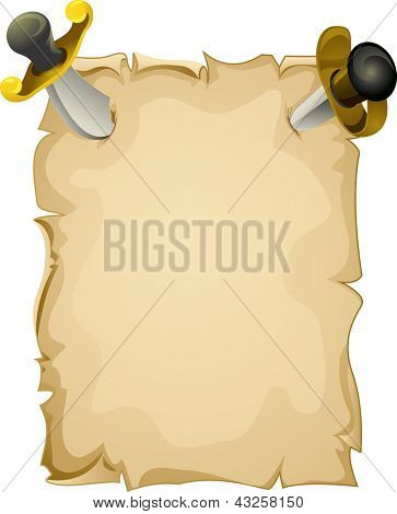 Illustration of a Blank Piece of Paper Tacked to the Wall by Pirate Swords