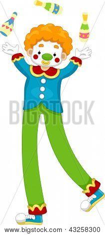 Illustration of a Male Clown Juggler