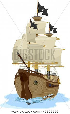 Illustration of a Pirate Ship sailing on water viewed on one point perspective