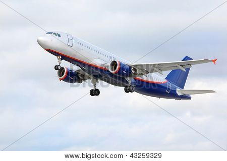 MOSCOW - SEP 22: Airbus Aeroflot flies on Sep 22, 2011 in Moscow, Russia. Aeroflot up to 2012 was winner of award of Athens International Airport, in category Fastest Growing Airline in Eastern Europe