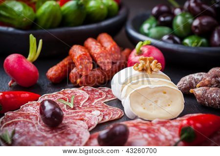 Catering platter with cheese and Antipasti