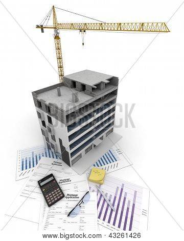 An apartment block in construction, on top of graphics and a mortgage application form