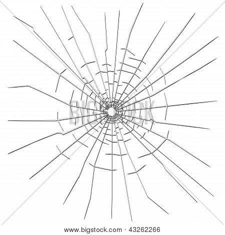 Agujero de bala en el vidrio