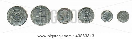 Various US coins (dime, quarter, half dollar)